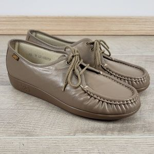 SAS Women Siesta Beige Tan Leather Lace Up Loafers